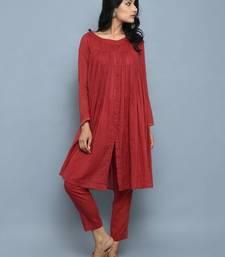 Red plain cotton long kurti with palazzo