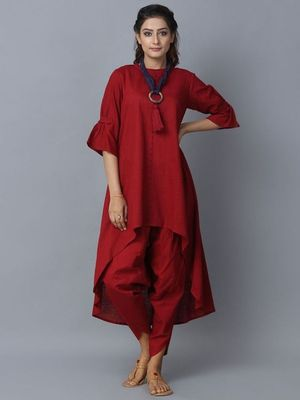 Red plain cotton long kurti with palazzo