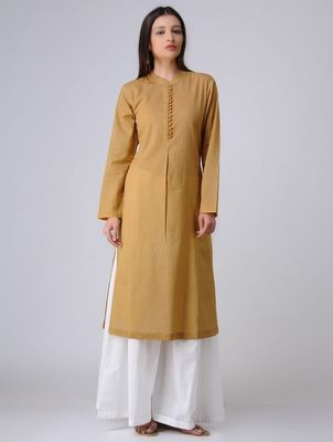 Mustard plain cotton long kurti with palazzo