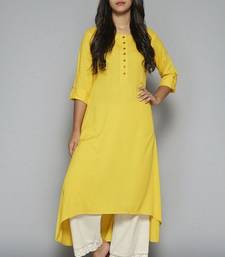 Yellow plain cotton long kurti with palazzo