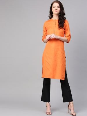 Orange plain cotton long kurti with palazzo