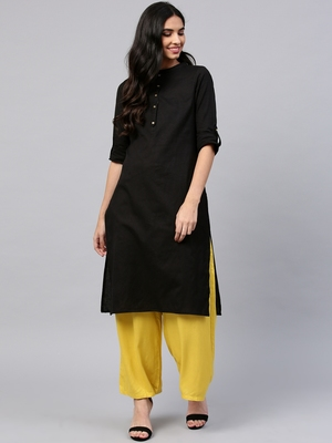 Black plain cotton long kurti with palazzo