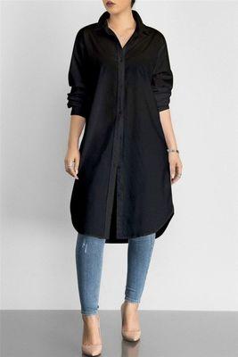 Black plain cotton long kurti .