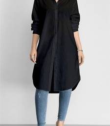 Black plain cotton long kurti .