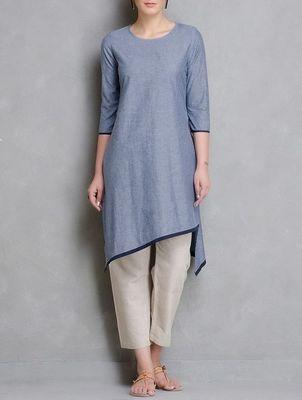 Blue plain cotton long kurti  with palazzo