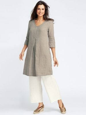 Grey plain cotton long kurti with palazzo