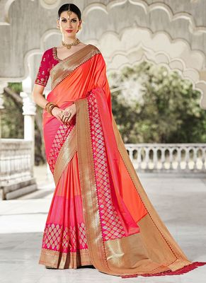 Coral woven art silk saree with blouse