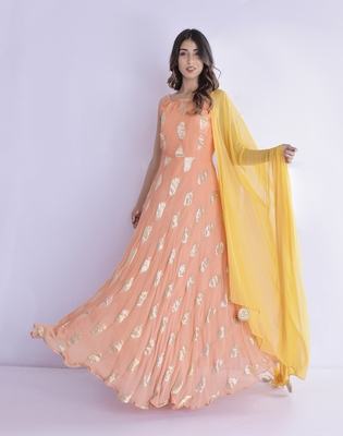 Tangerine anarkali with tasseled dupatta