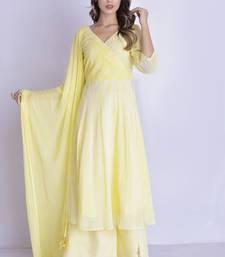 Yellow angrakha leheriya anarkali palazzo set
