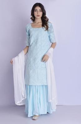 sky blue chikan kurta gharara set