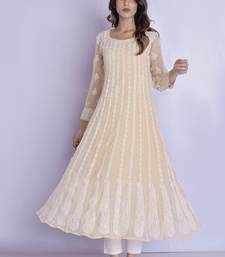 beige chikan anarkali kurti with pant