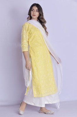 yellow chikan anarkali kurti with pant