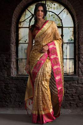 YELLOW ORGANZA COTTON SAREE WITH ZARI MOTIFS