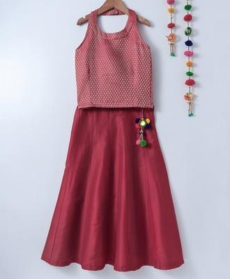 red plain art silk kids lehenga choli
