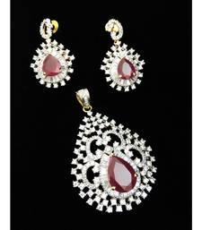 Ruby Diamond Stylish Latest Fashion Pendant Set