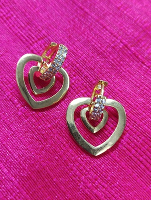 Indo Western Fashion Party Wear Heart Shape Earrings