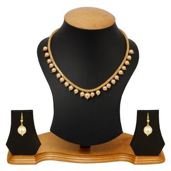 Pearl CZ Necklace Earrings Set