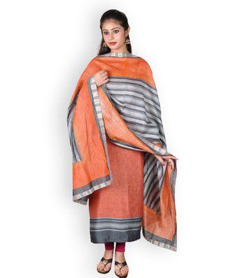 Orange printed silk unstitched salwar with dupatta