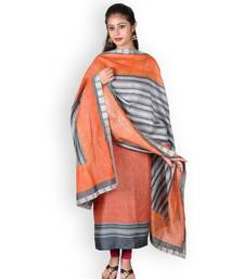 Orange printed silk unstitched salwar with dupatta