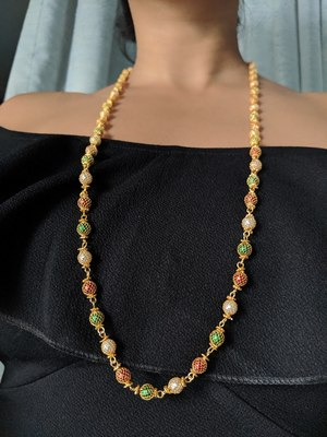 Multi-Color with White Pearl Necklace Gold Plated Alloy Single Layer Long Chain Mangalsutra for Girls
