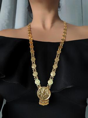 Gold Plated Alloy Round Lakshmi Pendant Necklace Golden Laxmi  Single Line Layer Long Chain Mangalsutra
