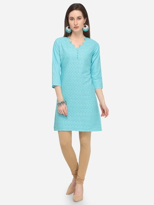 Sky Blue Cotton Schiffli Stitched Kurti