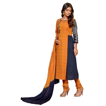 Orange embroidered cotton salwar
