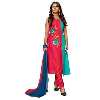Multicolor embroidered jacquard salwar