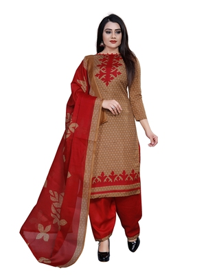Bronze printed blended cotton salwar