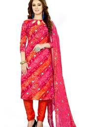 Pink printed blended cotton salwar