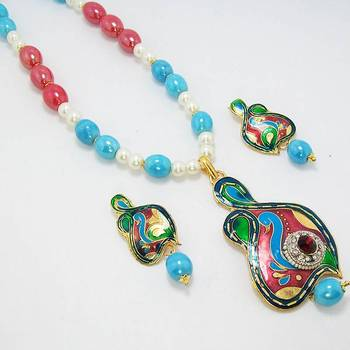 Meenakari Pendant Lustre Set Sky Blue Green Red