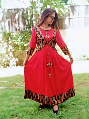 Red Printed Rayon Ethnic Wear Women