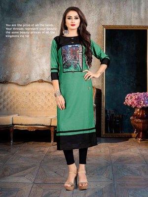 Women's Green & Black Rayon Amzing Designer Kurtis