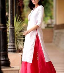 WHITE KURTA WITH FUCHSIA SKIRT SET