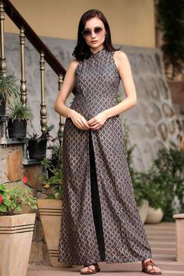 GREY HALTER NECK OVERLAPPING FRONT OPEN KURTA WITH TROUSERS