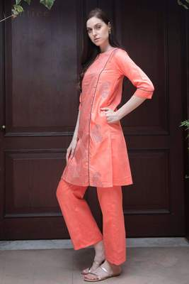 CORAL & GREY PRINTED KURTA WITH STRAIGHT PANTS