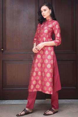 VINTAGE PINK & GOLD KURTA WITH TROUSERS
