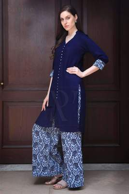 NAVY BLUE SHIRT STYLE PRINTED PALAZZO SET