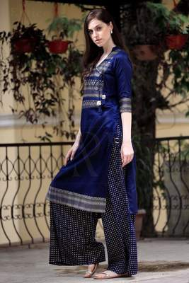 ANGRAKHA STYLE NAVY BLUE & GOLDEN PRINTED KURTA PALAZZO SET