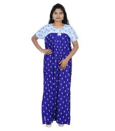 Blue and White colour Leaf Design Printed Square Neck Cotton Nighty For Ladies Nightwear