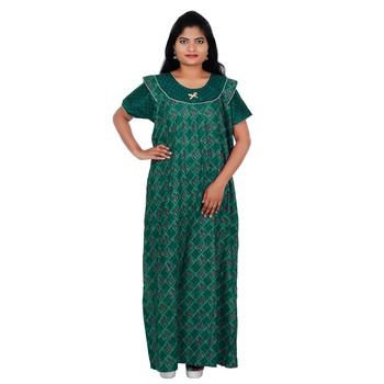 Green and Grey colour Checks Design Printed Round Neck Cotton Nighty For Ladies Nightwear
