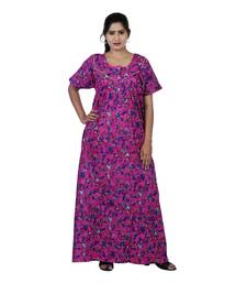 Pink and Multicolour colour Floral Design Printed Round Neck Cotton Nighty For Ladies Nightwear