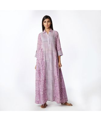 purple printed cotton stitched kurta sets