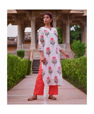 multicolor printed cotton stitched kurta sets