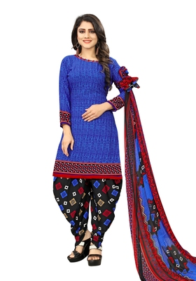 Blue Printed Blended Cotton Salwar