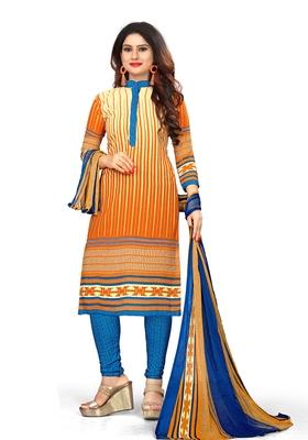 Yellow Printed Blended Cotton Salwar