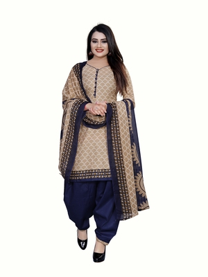 Beige printed blended cotton salwar