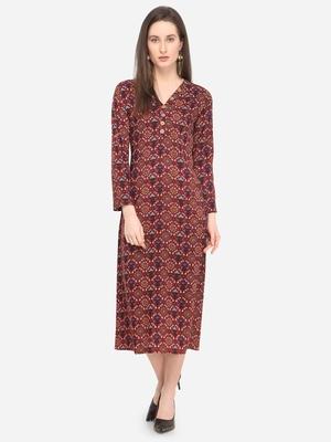 Maroon Rayon Printed Women's Stitched Maxi Dress