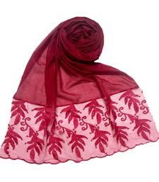 Maroon Designer Leaf Cotton Hijab