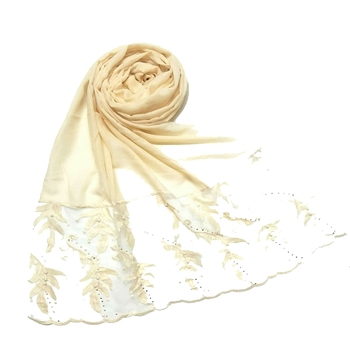 Cream Designer Leaf Cotton Hijab